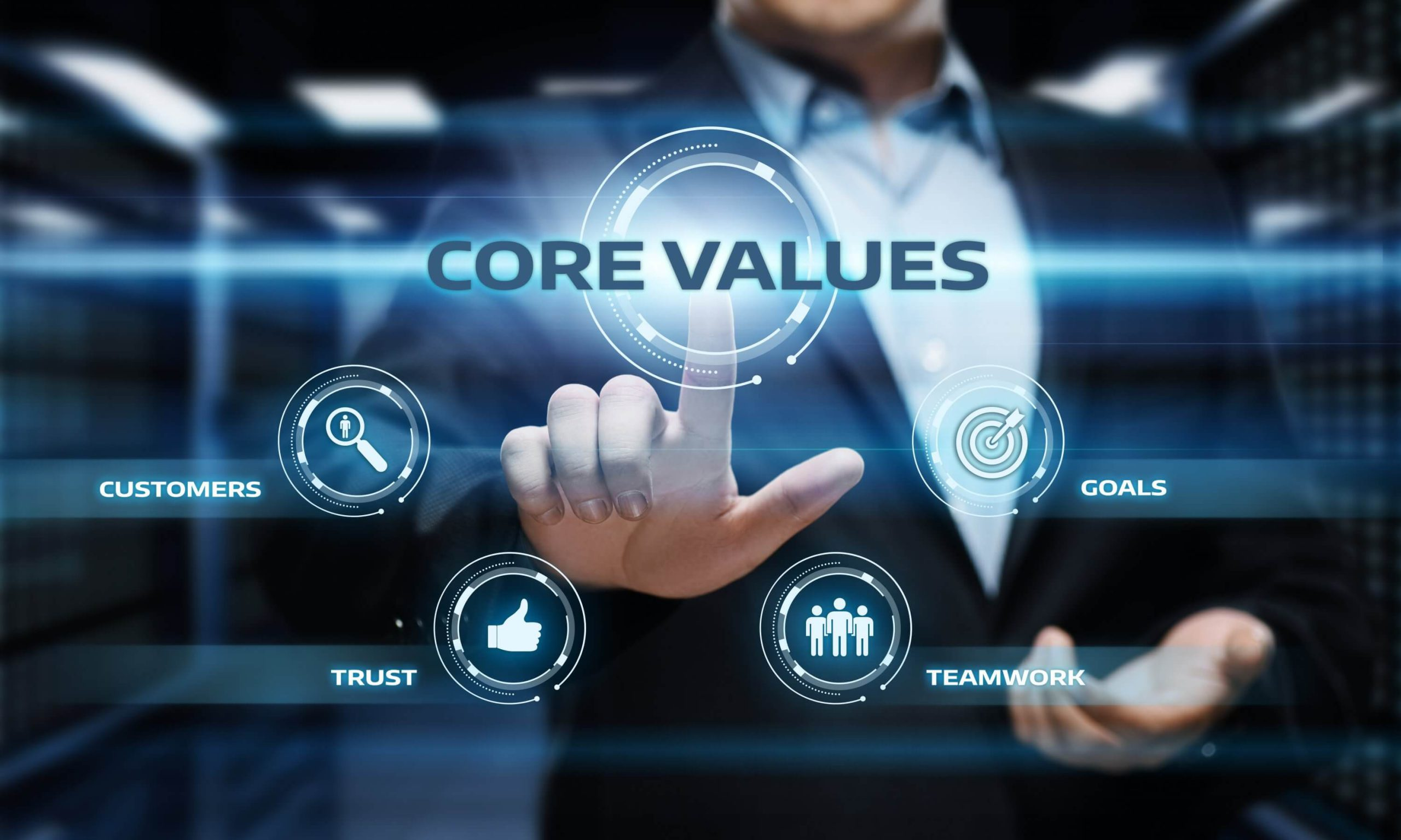 Pointing towards centre - Business vision mission and values