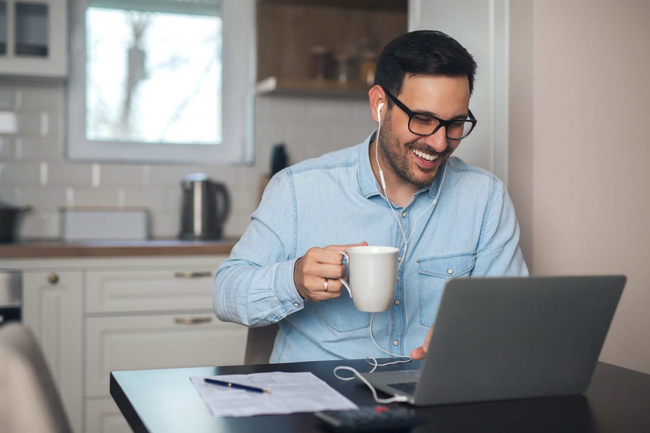 Man managing from home